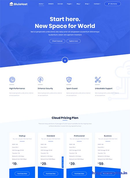Bluishost-Hosting-With-WHMCS-Theme
