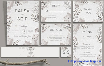 Monochrome-Foliage-Wedding-Invitation