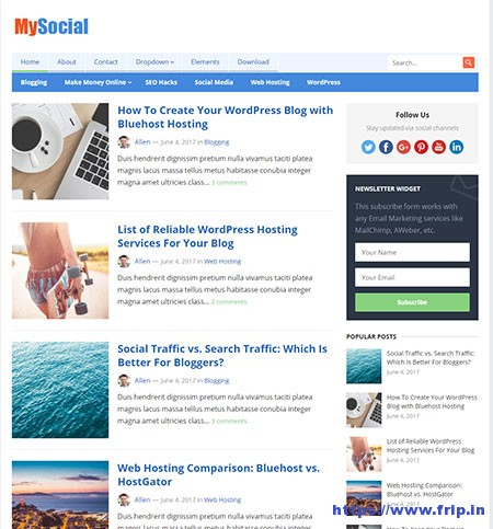 Mysocial-WordPress-Theme