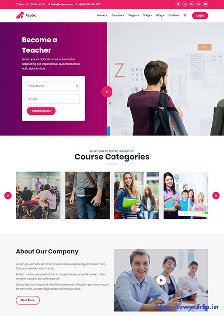 Reptro-Online-Course-WordPress-Theme