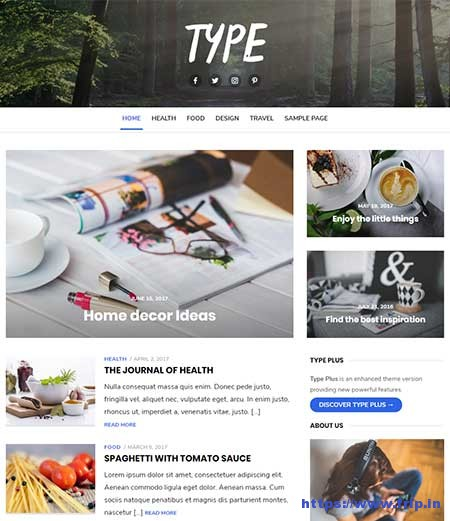 Type-free-Blog-WordPress-Theme