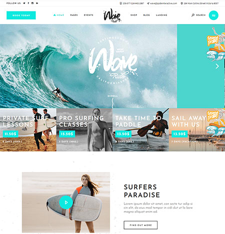 WaveRide – Surfing & Water Sports Theme