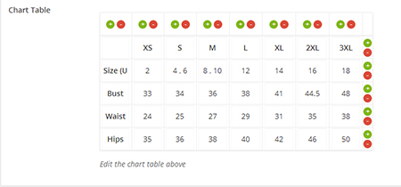 WooCommerce-Product-Chart-Size-Table