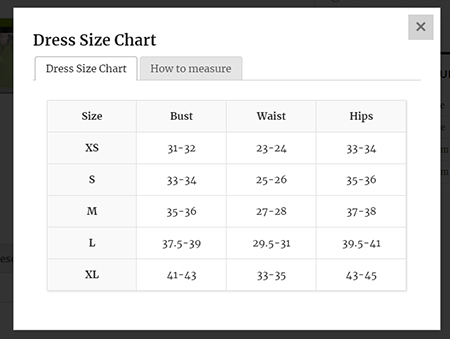 woocommerce product size chart plugin