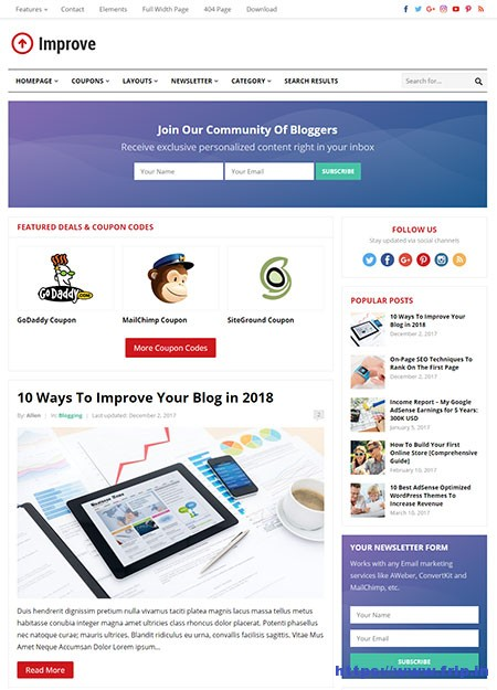 improve-blogging-wordpress-theme