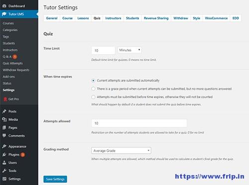 Tutor LMS Quiz Settings